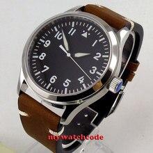 42mm corgeut czarna sterylna tarcza białe znaki świecące znaki szafirowe szkło sea frajer automatyczny męski zegarek C127