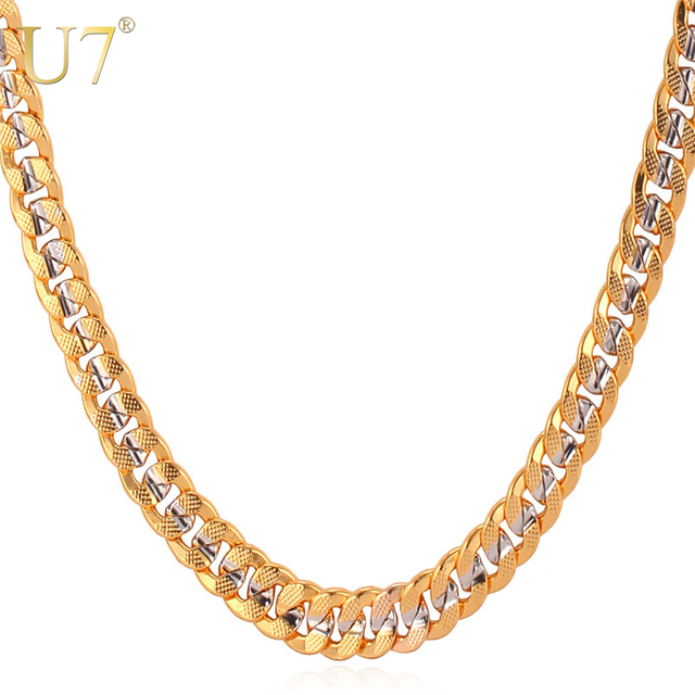 U7 Brand Two Tone Yellow Gold Color Necklace Hip Hop Men Jewelry Gift Wholesale Trendy Choker/Long 6MM Cuban Link Chain N379