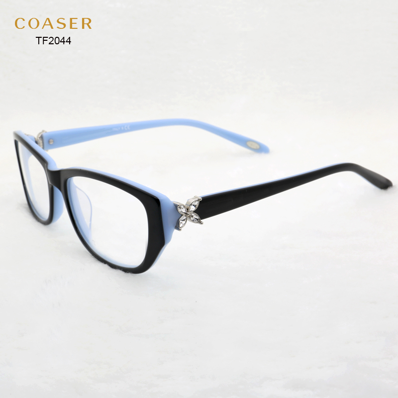 vintage acetate rhinestone eyeglass frames women glasses frame tf2044 suit prescription optical lenses computer glasses eyewear