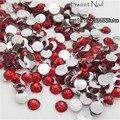 1000 pcs 2mm-6mm Tamanho Misto encantador bonito vermelho 14 facet rodada diamante espumante acrílico nail art decoração N05