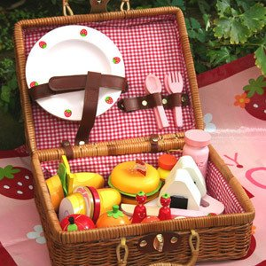 Free Shipping!Baby Toys Picnic Basket Food Set Wooden Play Food Set  Pretend Play  Kitchen Toys Gift baby toys montessori ed inter artificial wooden kitchen child pretend play kitchen wooden toys educationl birthday gift