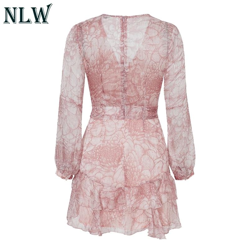 NLW 19 Long Sleeve Chiffon Women Dress Feminino Party Ruffle Dress Elegant Casual Vintage Autumn Winter Pink Dresses Vestidos 23