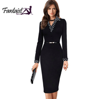 Elegant Turn Down Collar Full Sleeve Fake Two Piece Patchwork Dots Business Party Formal Work Office