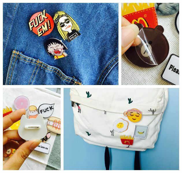 1 pçs frete grátis dos desenhos animados acrílico broche donuts pizza ovo pipoca leite pinos broches roupas mochila decorar acessórios diy