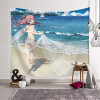 Beautiful gifl Anime Cartoon Tapestry Wall Hanging Home Decorative Tapestries Beach Yoga Mat picnic blanket Tapestry w3 dz 019