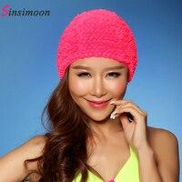 섹시한 새로운 꽃 여성 수영 모자 2017 뜨거운 판매 수영 모자 긴 머리 고체 3D 꽃 수영 모자 소녀 여성 무료 크기