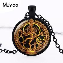Golden Buddha Necklace Dance of Destruction Lord Shiva Pendant Glass Buddhist Jewelry Hindu Deity Spiritual Amulet Necklace HZ1