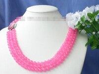3 fili 8mm rotonda naturale Rosa perline gemma Collana prezzo All'ingrosso Della Fabbrica Regalo parola per le donne monili brinco da sposa