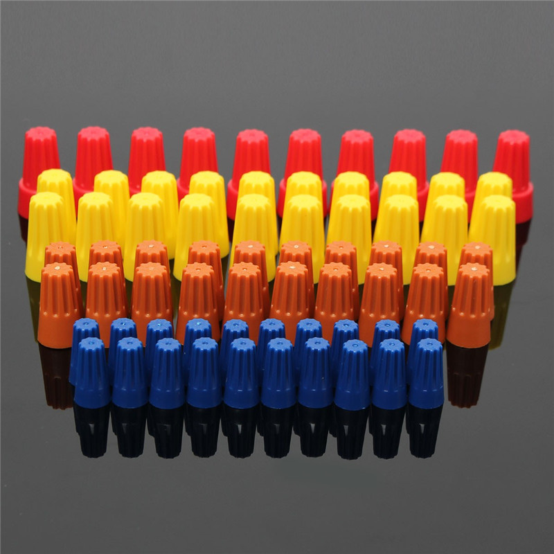 70PCS Electrical Wire Twist Nut Connector Terminals Cap Spring Insert Assortment 4 Colors Red Yellow Blue Orange Terminals шатура krona вытяжка jessica slim 600 white push button