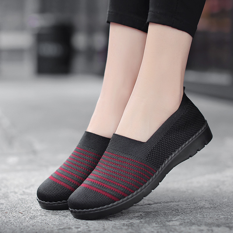 Shoes Women Mesh Sneakers Breathable Women Flats Casual Shoes Flyknit Tennis Slip On Lady Loafers Mother Footwear Comfortable