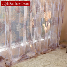 Japanese Home Fabric Plant Sheer Tulle Curtains For Living Room Kitchen Burnout Curtains For Children Bedroom Cortina Decoration