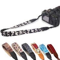 خمر كاميرا حزام الكتف الرقبة حزام حزام ليوبارد سلسلة ل slr dslr كانون نيكون سوني باناسونيك حقيقية الجلود + القطن