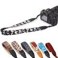 Cámara correa de cuello correa de la vendimia serie de leopardo para slr dslr canon nikon sony panasonic cuero genuino + cotton