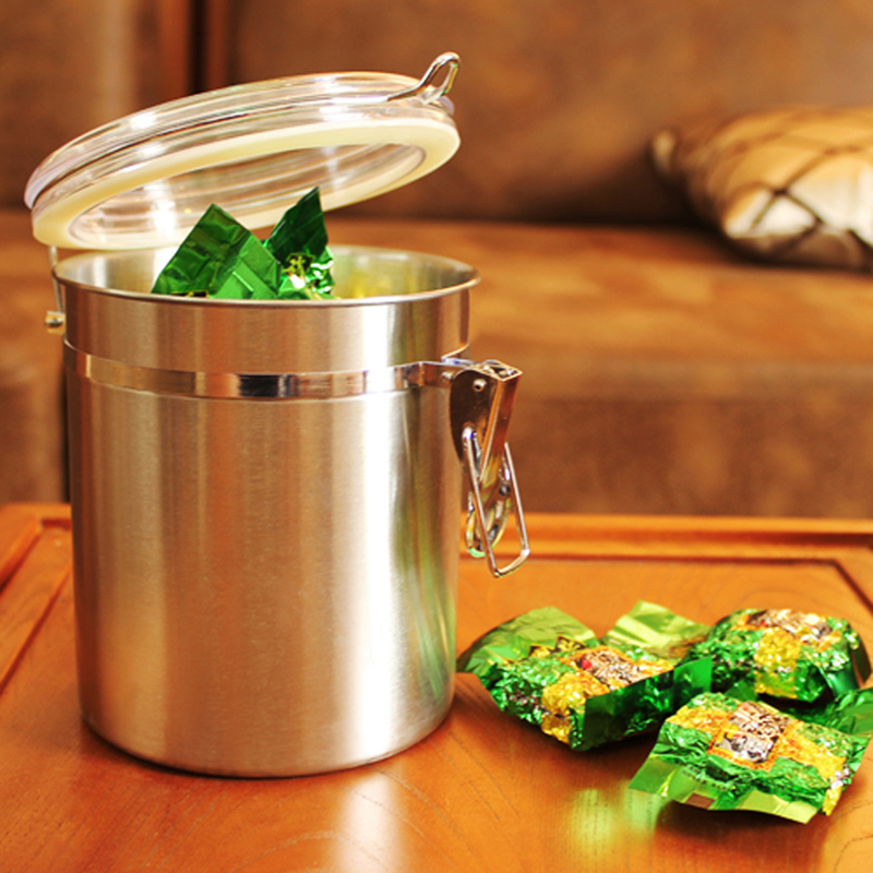 Kitchen Tea Accessories: Stainless Steel Sealed Canister Jar Home Kitchen