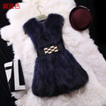 Natural raccoon dog fur vests waistcoats women long design autumn and winter 2017 new fashion real fur vest sleepless jacket