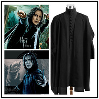Harri Potter Character Cosplay Severus Shape Costume Black Cloak Halloween Stage New Fashion Fit Figure Costume Drop Ship