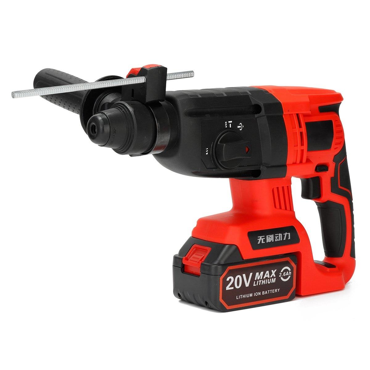 Bereidwillig 220 V 20mm Multi-functies Elektrische Boorhamer 20 V Met 1/2 2.6ah Li Batterij Klopboormachine Power Tool Boor Elektrische Boor