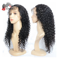 Sunnyмая индийский 360 синтетический парик 150% плотность вьющиеся парики 360 синтетический фронтальный парик человеческих волос для черных женщ