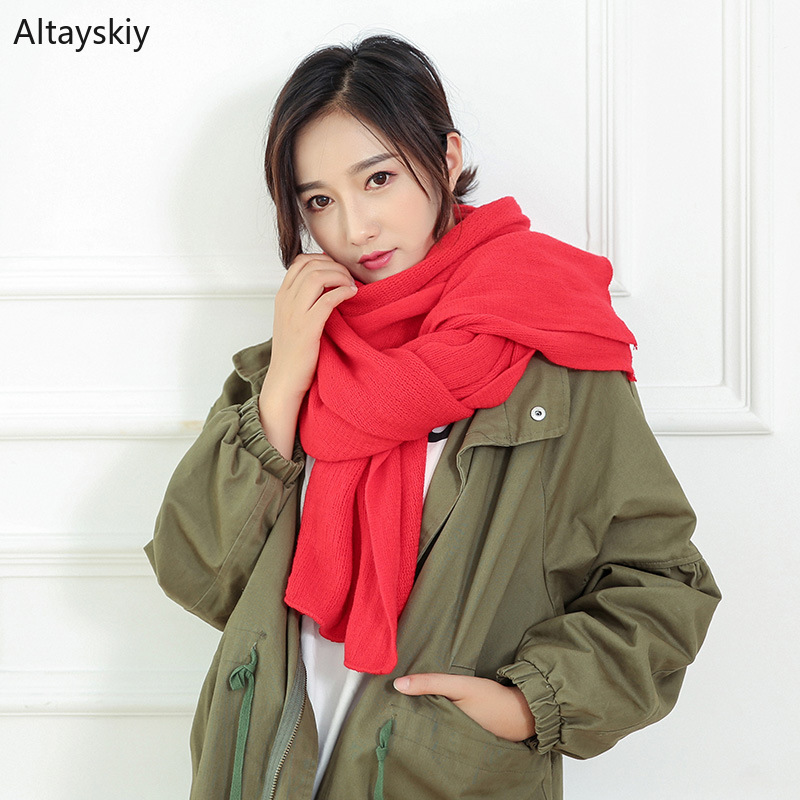 Scarves   Women Soft Long Faux Cashmere Solid   Scarf   Warm Winter Korean Style Elegant Trendy Womens   Wraps   All-match Lovely Daily
