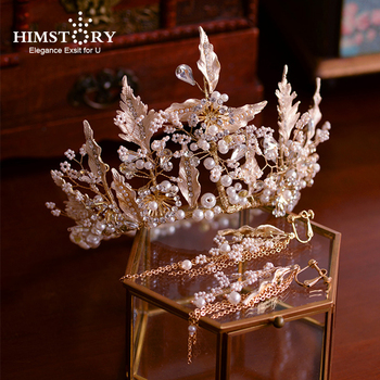 Handmade Luxurious Pearls Leaf Bridal Headdress Wedding Tiaras Crowns Crystal Brides Hair Accessory Evening PArty Hair Jewelry