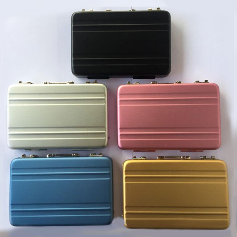 NEW 1Color Only Aluminum Business Credit Cards Box Mini Suitcase Card Holder H