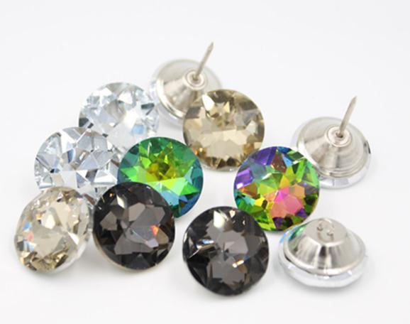 6size 1000pcs gemstone Nail Button 3colors Crystal Buttons Sewing Sofa DIY Diamond Upholstery Headboard Buttons Accessories
