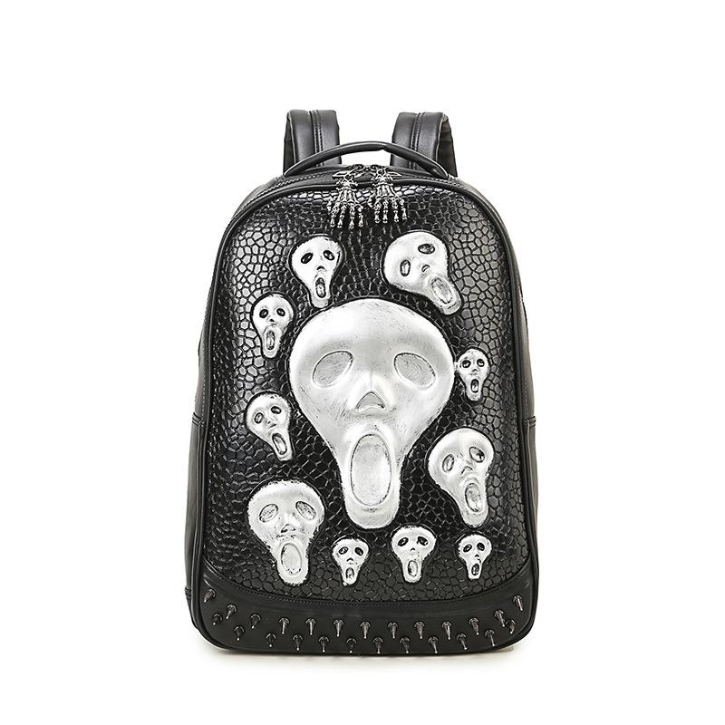 Steampunk Retro Rivet Backpack PU Leather Backpacks Unisex Casual Big Bag Large Space Shoulder Bag Fashion Alien School Bags