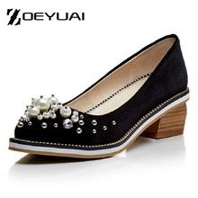 2017 spring pointed toe thick heel shallow mouth fashion casual shoes handmade inlaying pearl tyranids pumps for women's us 10.5
