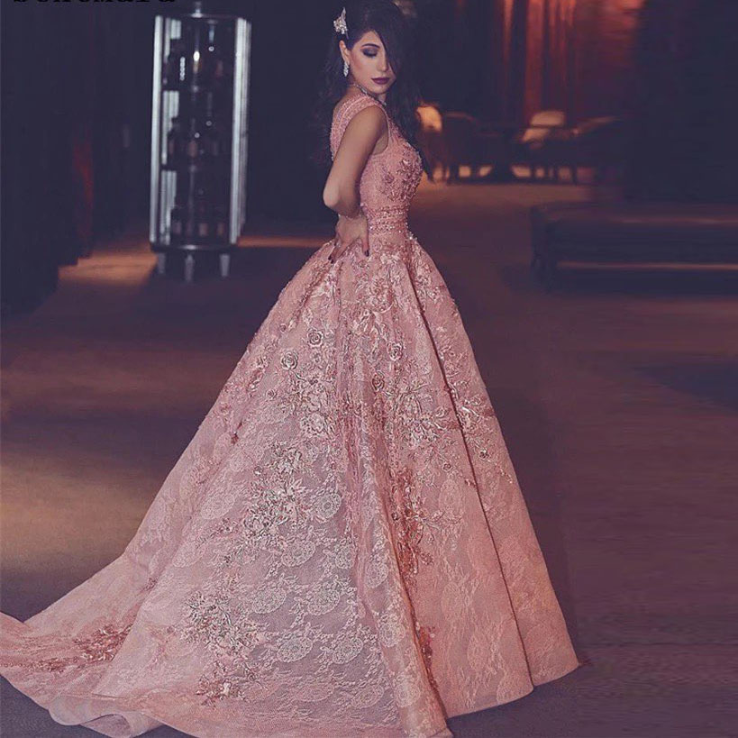 Pretty Peach Pink Lace   Prom     Dresses   Appliques A-line Long   Prom   Gowns V-neck Formal party   Dress   2019 Vestidos Longo