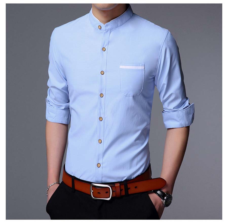 Men Shirt Long Sleeve Chinese Style Solid Party Shirts Mens Dress