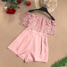 fashion sexy Floral lace short Jumpsuit women casual off shoulder gules Black Playsuit female summer Elegant party Romper sexy off shoulder playsuit in random floral pattern