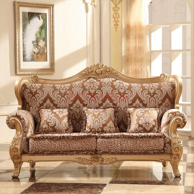 High Quality  European  Antique Living Room Sofa Furniture Genuine Leather Set P10082
