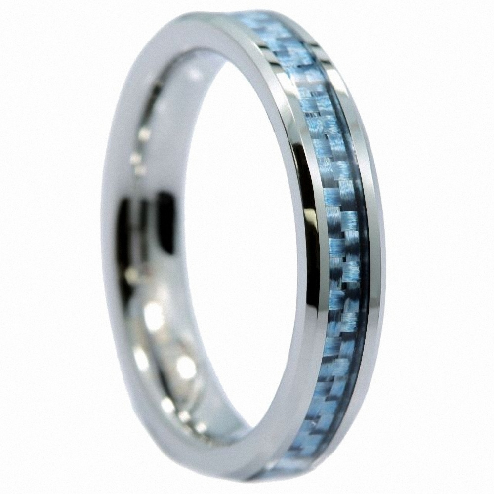 8mm Tungsten Carbide with Blue Carbon Fiber Inlay Wedding Band Size 8.5 8 1//2