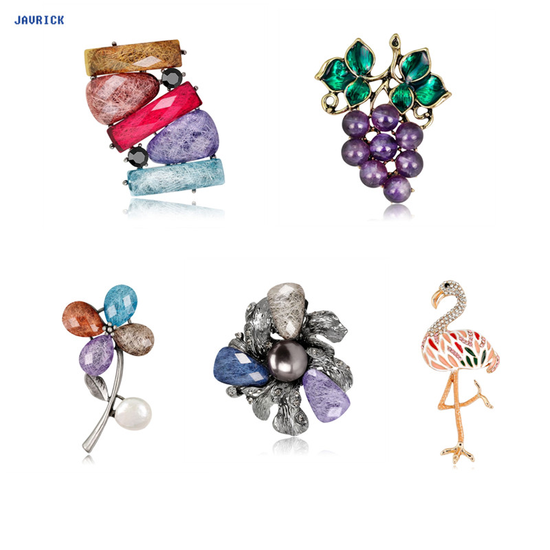 Jewelry Sets & More Jewelry & Accessories Reasonable Javrick Vintage Grapes Brooch Acrylic Fashion Jewelry Women Flower Pin Flamingo Brooch Rhinestone Cartoon Gifts Antique Corsage Driving A Roaring Trade