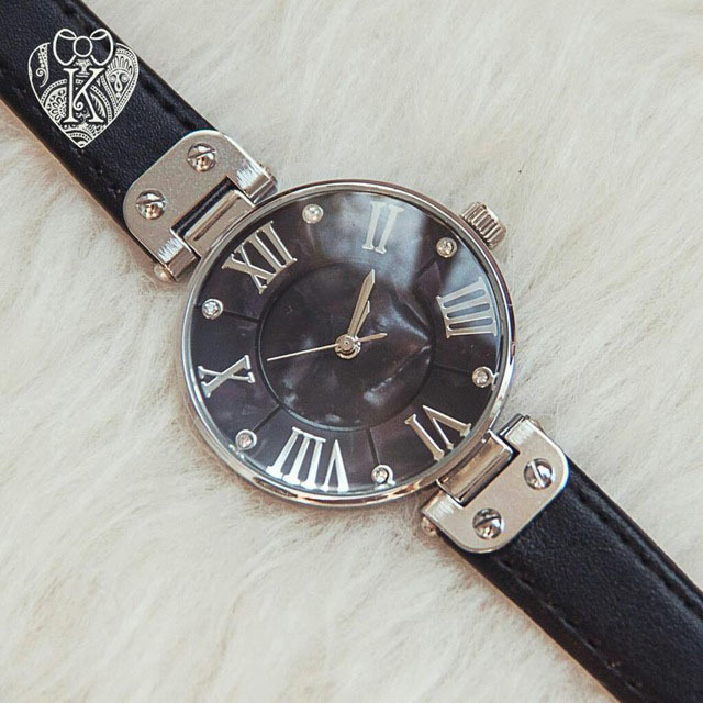 Women Watches Genuine Leather Straps Mother of Pearl Dial Face