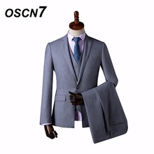 OSCN7 Wool Gray Solid Retro Formal Custom Made Men Suit Groom Tuxedos Tailor Made Slim Fit Wedding Suits for Men 3 Piece ZM-559