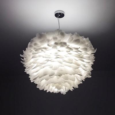 Прекрасный перо оттенок белый подвесные светильники Светильник с креплением детская спальня hanglamp E27 лампа Подвесные Лампы для гостиной