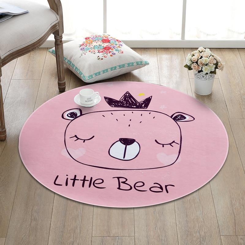 Cartoon Crown Bear Round Carpets For Living Room Cute