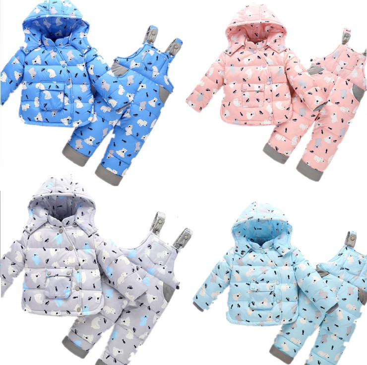 2018 new Baby girl boy toddler winter Rompers Clothes Infant hooded duck down sets jackets coats+overalls 2-5y baby outwear 2018 new baby girl boy toddler winter rompers clothes infant hooded duck down sets jackets coats overalls 2 5y baby outwear