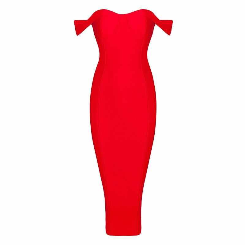 Venta al por mayor 2015 nuevo blanco negro rojo caqui elegante de lujo de hombro bodycon sexy Mujer hasta la rodilla fiesta de noche vendaje vestido