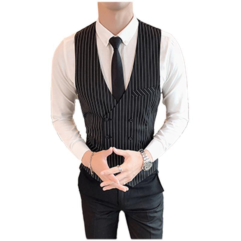 M-3XL Double Breasted Casual Tuxido Vest Wedding Men Fashion Sleeveless Striped Mens Clothing Officewear Workout Vests XXXL