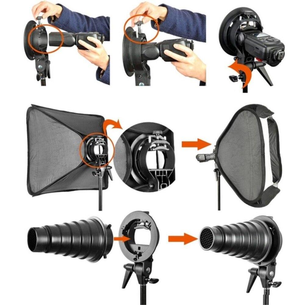 Kit de Softbox Flash réglable Godox 60x60 cm avec support de Type S support de montage Bowen Elinchrom pour appareil Photo Studio