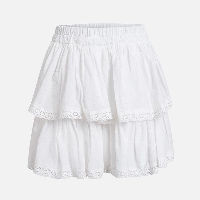 Women's High Waist A-Line Mini Skirt Summer Women Elegant White Skirts 2021 Summer Casual Lace Splice Short Holiday Short Skirt 4