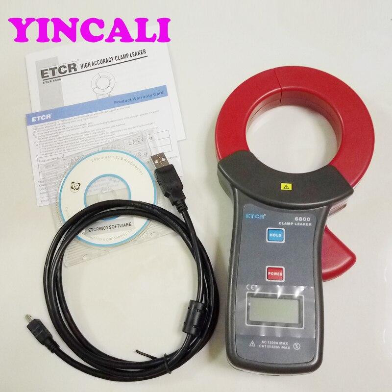 Braçadeira de alta Precisão de Medição de corrente de fuga AC Vazamento Current Meter ETCR6800, corrente AC e medição on line