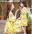Hija de la madre vestidos de gasa madre e hija ropa de impresión coincidencia de lemon ropa a juego de ropa de la familia de madre e hija