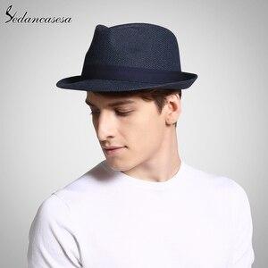 Image 2 - Fashion men fedora straw hats for women man holiday beach summer sun hat unisex linen trilby Caps Sombreros Hombre Verano cool