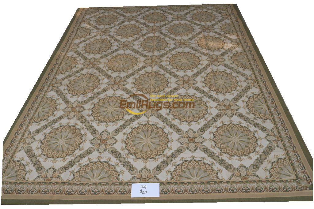 Tapis ancien Aubusson tapis laine tissé à la main tapis Rectangle tapis géométrique