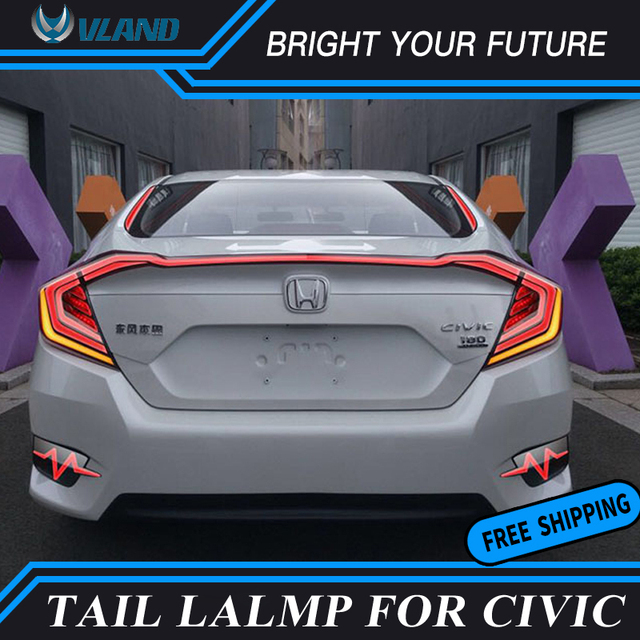 LED Red Smoked Tail Lamp For Honda Civic 10th Tail Lights 2016 2017 Rear  Lamp DRL
