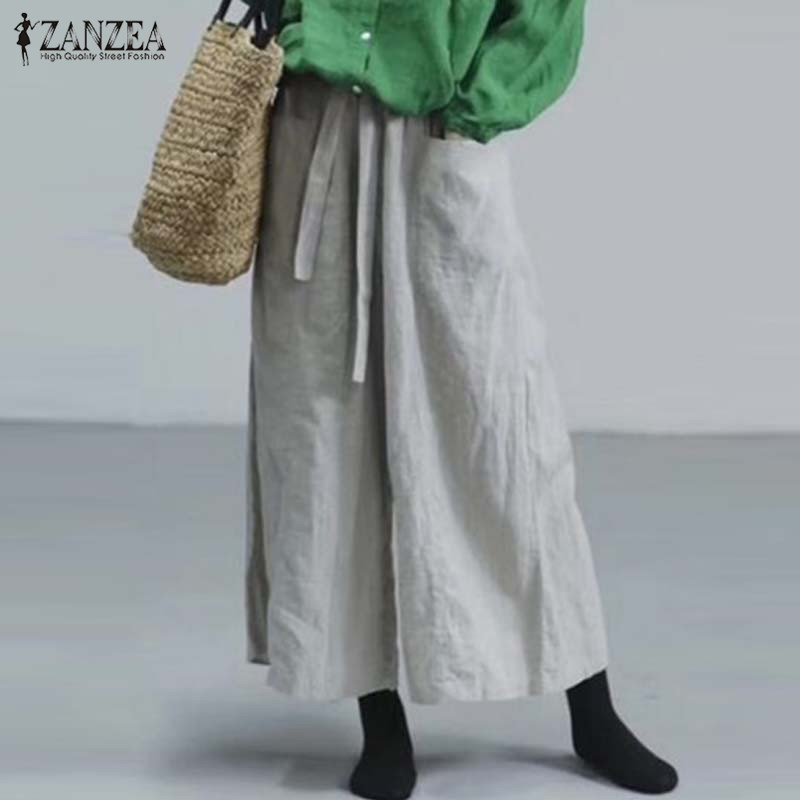 Cotton   Wide     Leg     Pants   ZANZEA 2019 Women Elegant Work OL Loose Pantalones Autumn Casual Solid Elastic Waist Long Trousers Female