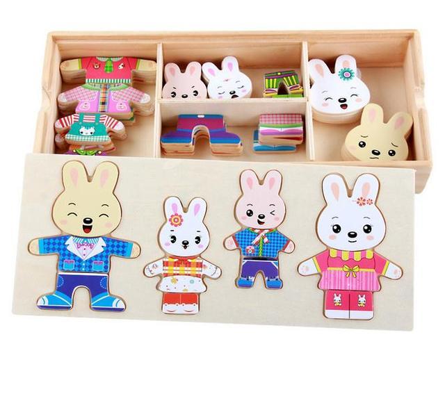 Bébé Enfants En Bois Jouets Robe Up Dressing Jigsaw Puzzle famille Changer de  Vêtements Jeu Éducatif 7697ed5ec8a